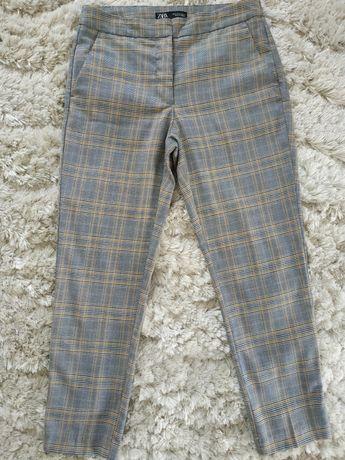 ZARA M jak nowe spodnie rurki damskie w kratę beż szary żółty SUPER