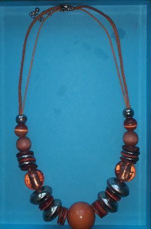 Łańcuszek,naszyjnik,korale-pomarańczowe