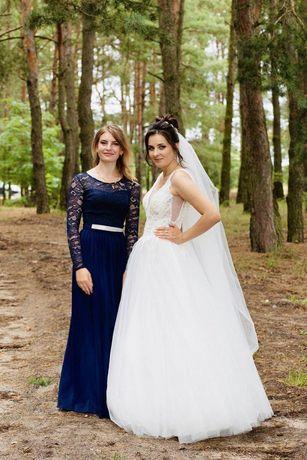 Плаття в пол темно синього кольору