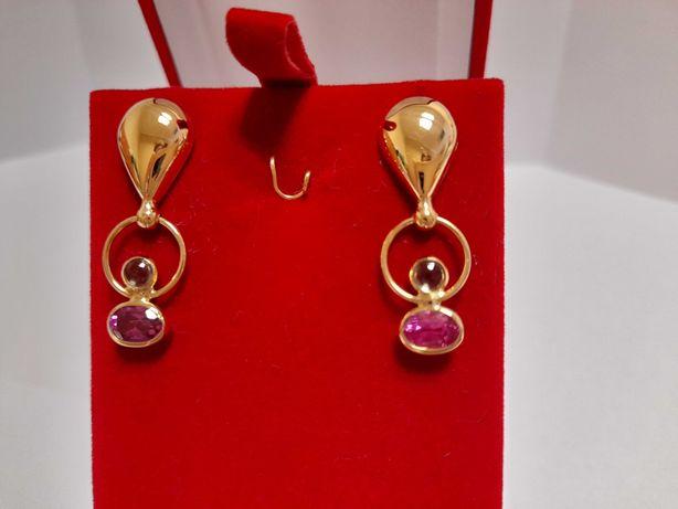 Kolczyki Exclusive Piękne Rubiny 18k złoto