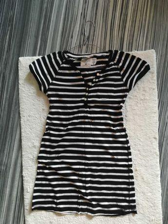 Tunika biało czarna w paski H&M