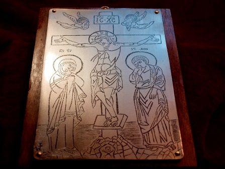 ikona podróżna, wojskowa w metalu Adoracja Krzyża do szabel, broni