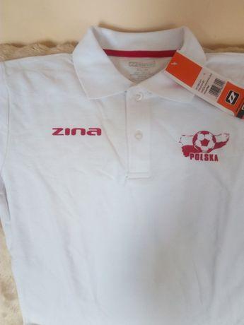 koszulka polo sportowa biała zina junior rozmiar XL 158 - 170