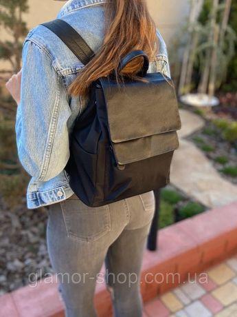 Женский кожаный текстильный городской рюкзак чёрный жіночий ранець