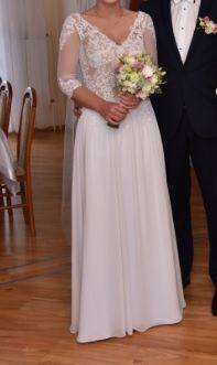 Suknia ślubna biała szyta na miare na oko 38 rozmiar piękna lejąca
