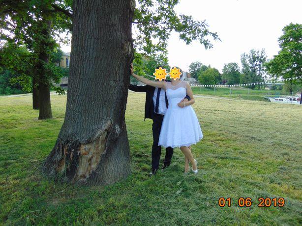 Krótka suknia ślubna r.38
