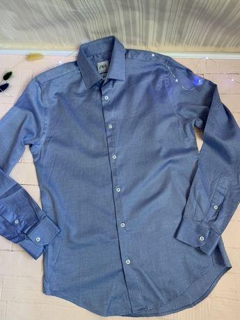 Мужская рубашка зара ZARA синая размер С S нарядная новая маленький