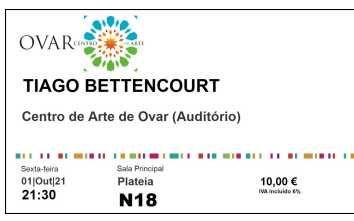 2 bilhetes concerto Tiago Bettencourt