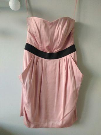 Pudroworóżowa różowa sukienka h&m dekolt serce r. 40