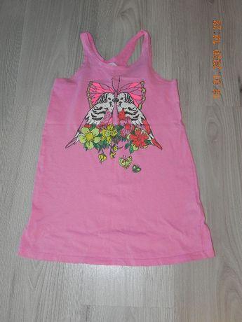 sukienka h&m 110-116 różowa bokserka