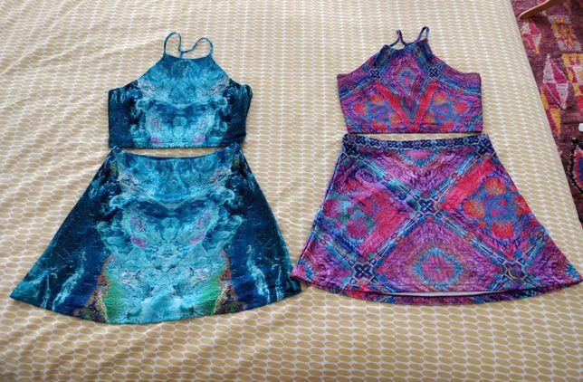 Conjunto Rosa e Azul Padrão - top crop + saia