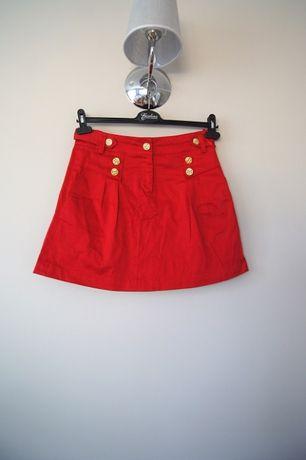 czerwona spodniczka trapezowa prosta xs 34 36 S spodnica rozkloszowana