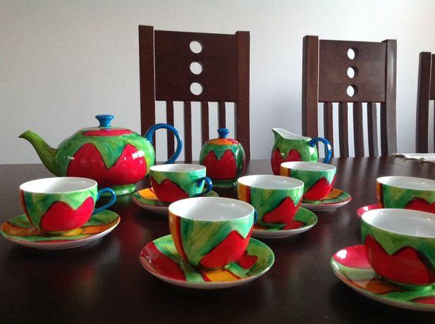 Zestaw kawowy ręcznie malowany