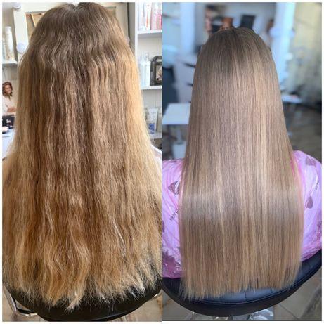 Кератиновое выпрямление волос, восстановление волос