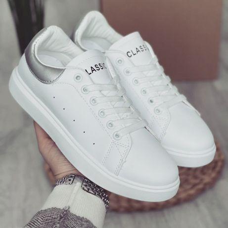 Женские белые базовые кроссовки кеды  с серебряным задником класика