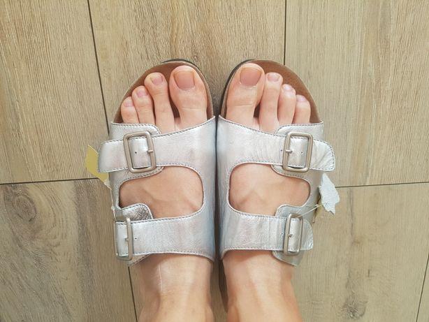 Nowe klapki na szeroką i wąską stopę r.43 całe ze skóry naturalnej
