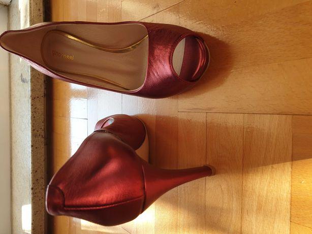 Buty szpilki Gino Rossi, nowe, bordowe 37,5, skóra błyszczące