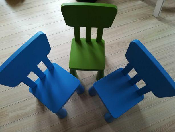 3x Cadeiras IKEA Mammut (2x Azuis e 1x Verde)