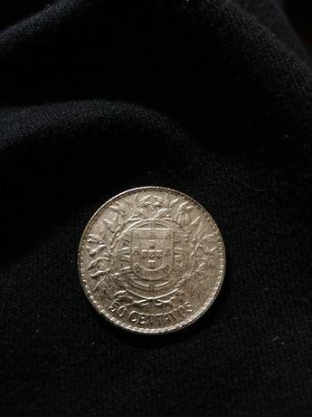 Moeda de Prata da República de 50 centavos de 1913