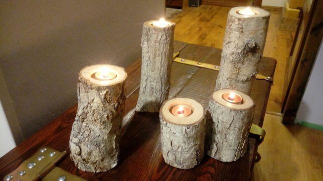 Świecznik drewniany brzoza , sosna 3 szt. w komplecie - ze świeczkami