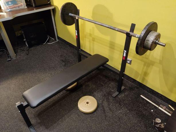 Ławka ławeczka siłownia ciężary wyciskanie 2x sztanga 54 kg