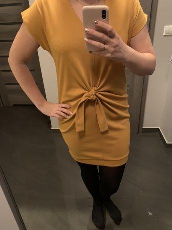 Musztardowa, wiązana sukienka, rozmiar uniwersalny s, m, l