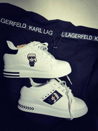 KARL-LAGERFELD buty adidasy sport biel new women sneakersy