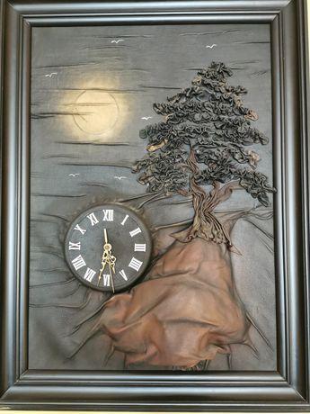 Zegar ścienny skóra