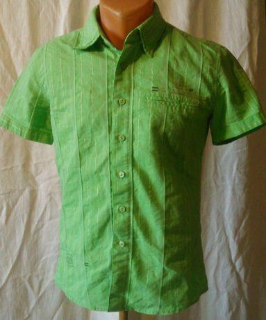 Рубашка р.42 для мальчика зеленая короткий рукав на рост 152-158