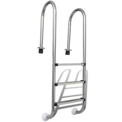 Escada para piscina 3 degraus aço inoxidável 120 cm **envio grátis**