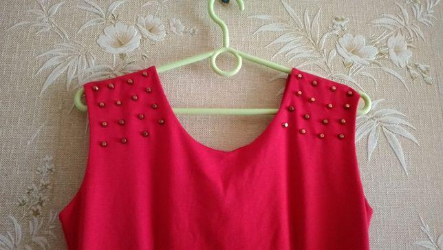 czerwona sukienka złote dżety S