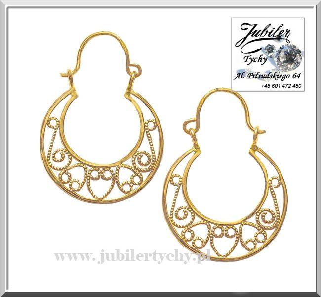 Złote ażurowe kolczyki podkówki koła ażur kółka złoto Au 585 Tychy
