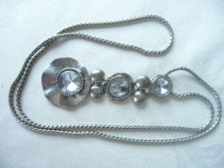 Naszyjnik kolia wisior długi srebro kryształ