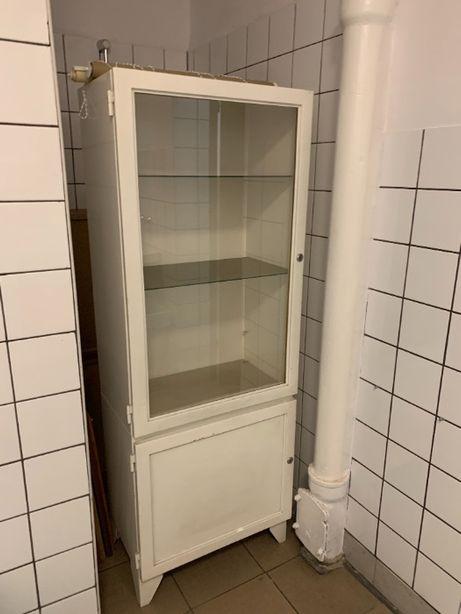 Metalowa szafka lekarska biała loft szafa medyczna