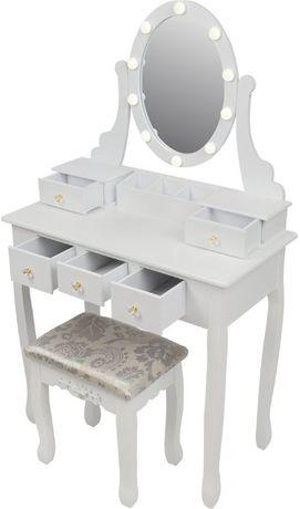 Toaletka kosmetyczna z lustrem LED i taboretem
