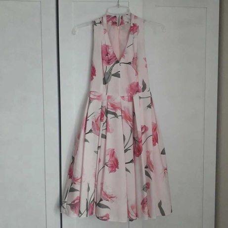 różowa sukienka na wesele chrzciny midi kwiaty kwiatki mohito