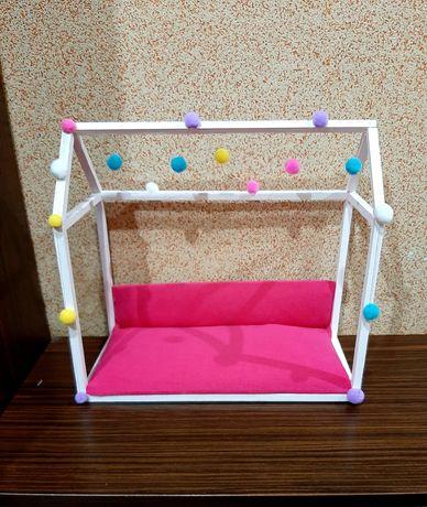 Łóżko domek namiot tipi kanapa sofa dla lalki Barbie meble pokój