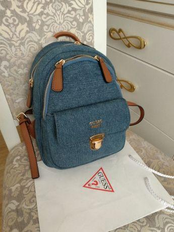 Оригинальный джинсовый женский городской рюкзак Guess, новый с бирками