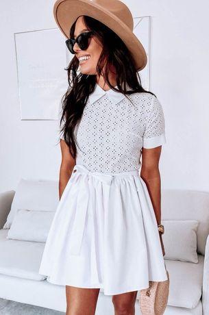 Piękna biała ażurowa sukienka