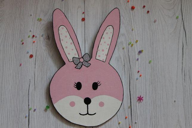 Różowy królik ozdoba ręcznie malowana