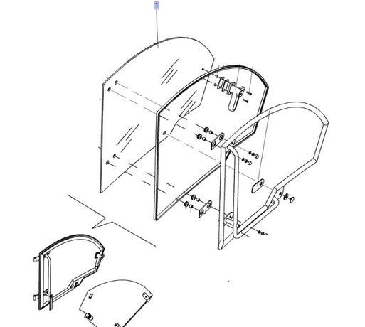 Szyba drzwi ładowarka New Holland LM5040, LM5060, LM5080