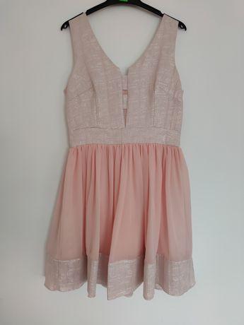Elegancka sukienka pudrowy róż srebrna nitka rozmiar 40