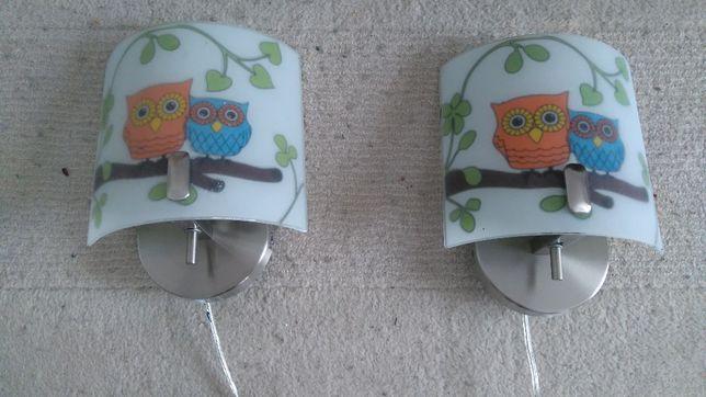 Lampa - Kinkiet do pokoju dziecięcego 3 sztuki. Wzór w sówki.