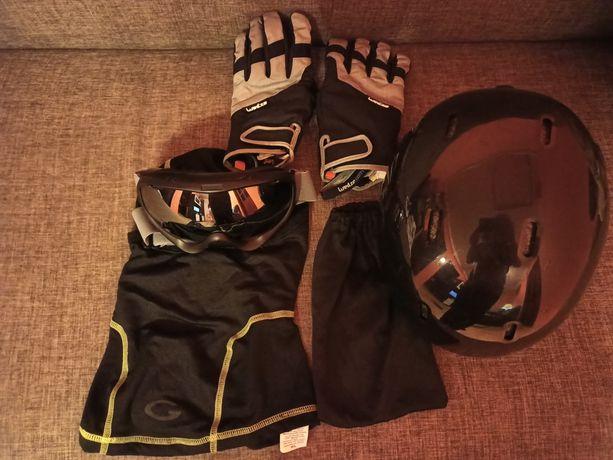 Zestaw narciarski: rękawice, gogle, kominiarka, kask