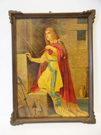 antiga imagem de Santa Filomena com moldura