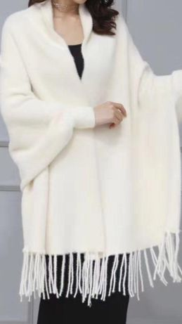 Ponczo szal z rękawami z alpaki kolory