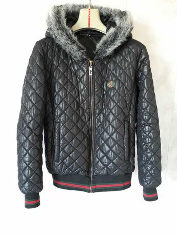 Стеганая куртка GUCCI оригинал, пр-во Италия/черная с капюшоном