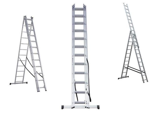 Лестница Драбина 5-10 мет алюмінієва 3-х секційна HIGHER Стремянка