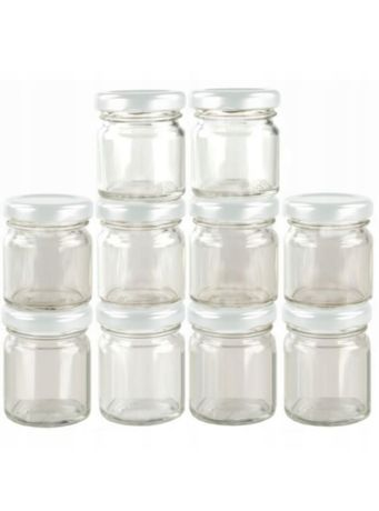 Słoiczki szklane 40ml z białymi nakrętkami