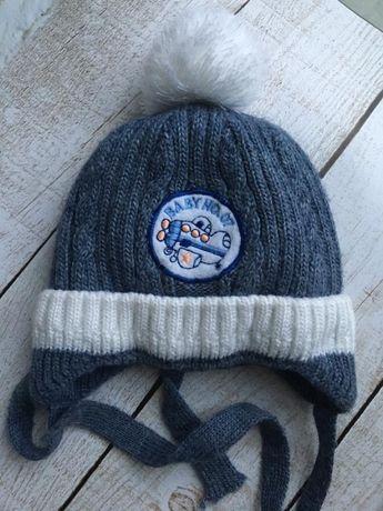 Зимняя шапка для мальчика малыша на 3 6 9 месяцев 40 42 44